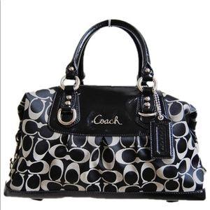 Coach Ashley signature satchel #15443 blk gray